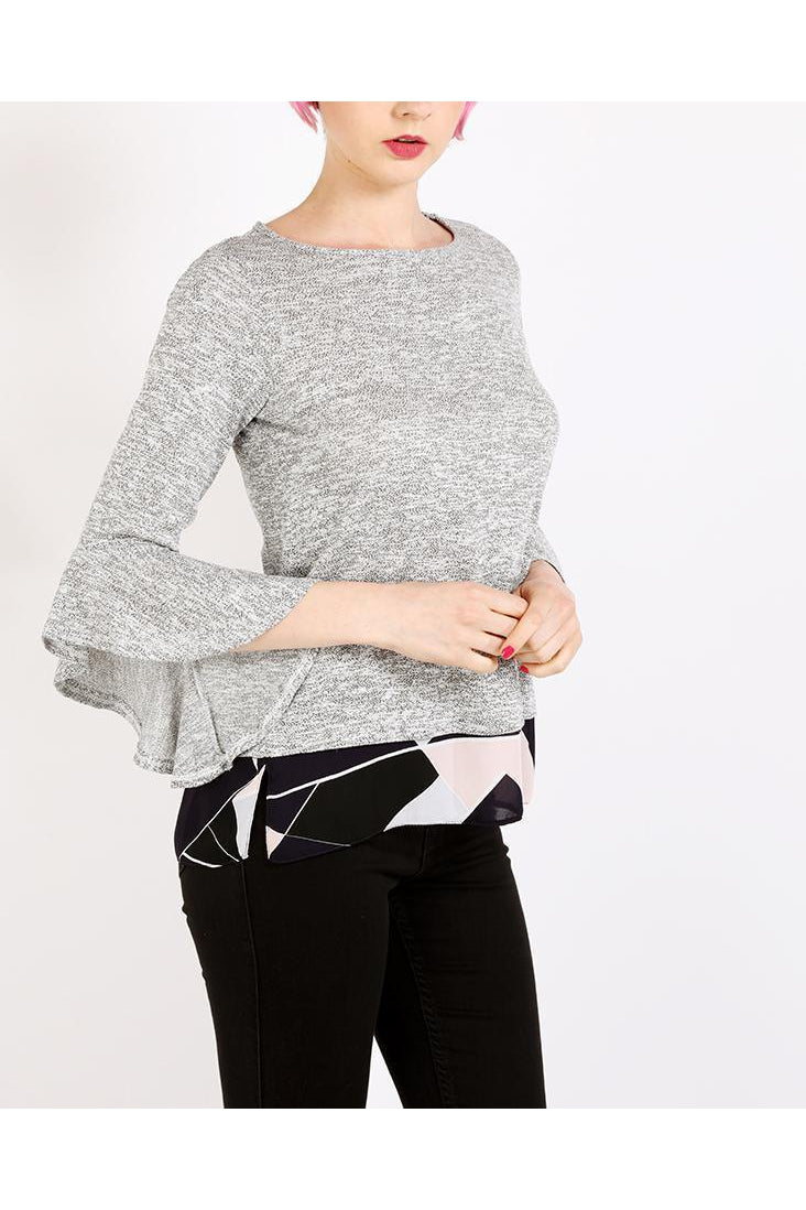 Grey Two-in-One Frill Sleeves Top-SinglePrice
