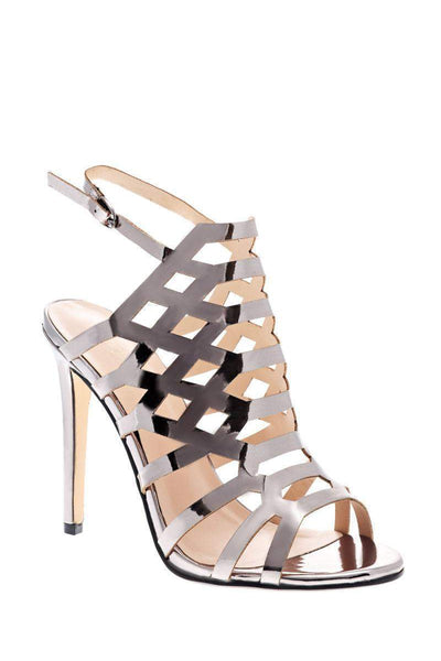 Gun Metal Metallic Cage Heels-Single price