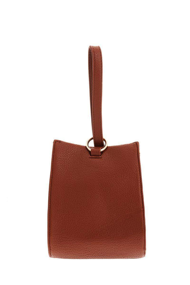 Hand Strap Brown Bucket Bag-Single price