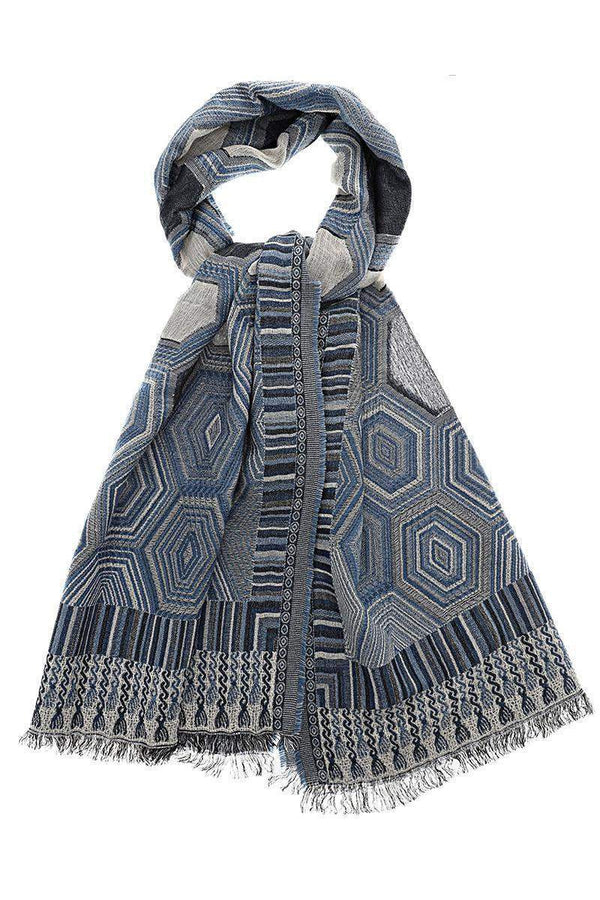 Hexagon Pattern Denim Blue Scarf - SinglePrice