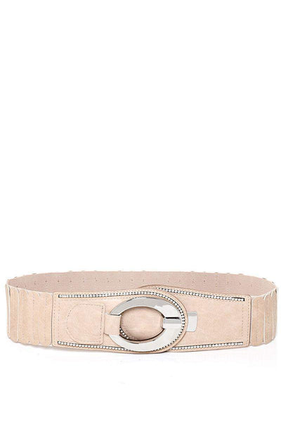 Hook Buckle Ribbed Beige Elastic Belt-SinglePrice