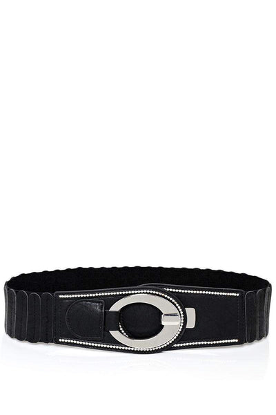 Hook Buckle Ribbed Black Elastic Belt-SinglePrice