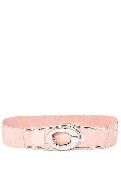 Hook Buckle Ribbed Pink Elastic Belt-SinglePrice