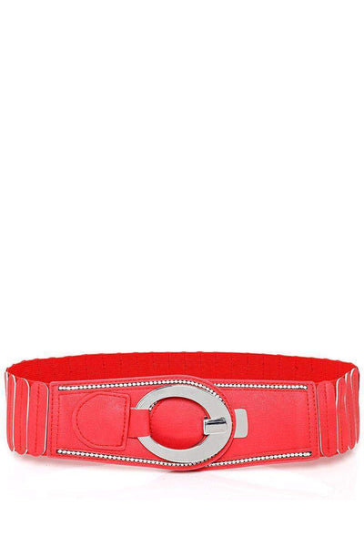 Hook Buckle Ribbed Red Elastic Belt-SinglePrice