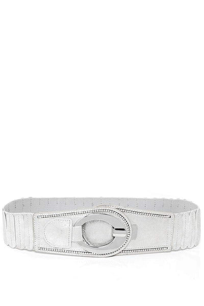Hook Buckle Ribbed Silver Elastic Belt-SinglePrice