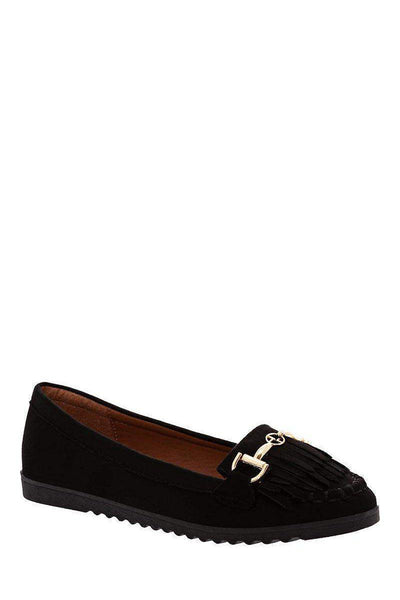 Horsebit Buckle Black Flats-Single price
