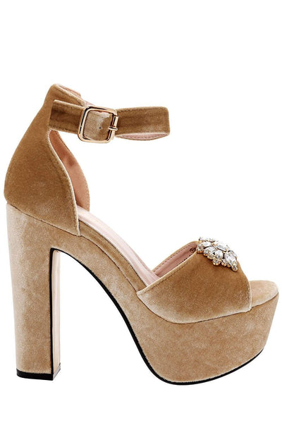 Jewelled Beige Velvet Platform Heels-Single price