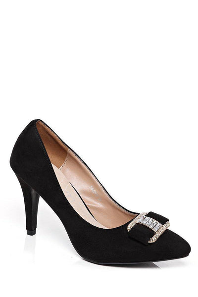 Jewelled Buckle Black Suede Heels-SinglePrice