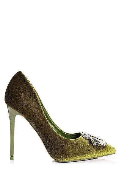 Jewelled Green Velvet Heels-Single price