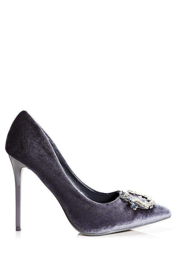 Jewelled Grey Velvet Heels - SinglePrice
