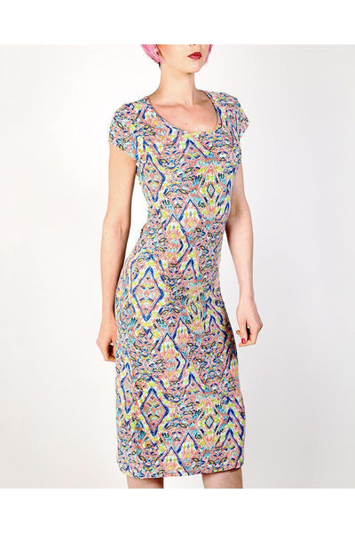 Kaleidoscope Print T-Shirt Midi Dress-SinglePrice