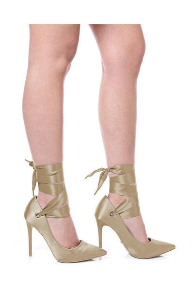 Khaki Lace Up Satin Heels-SinglePrice