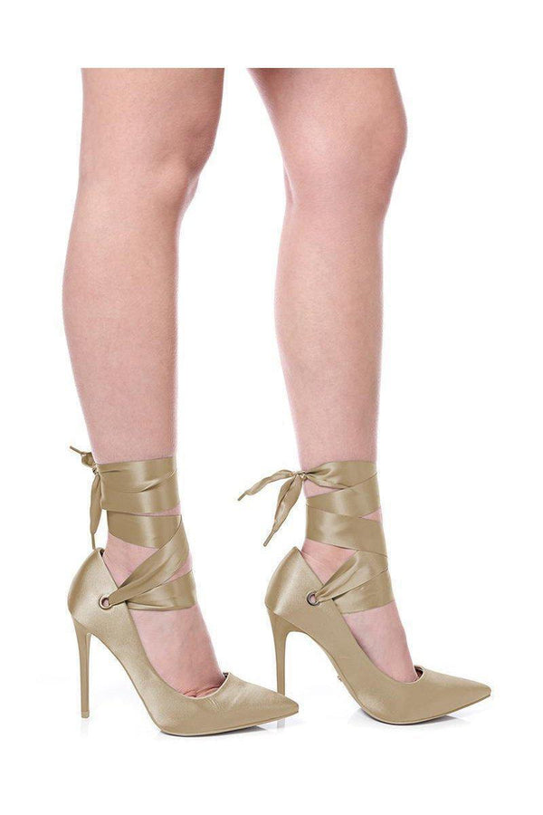 Khaki Lace Up Satin Heels - SinglePrice