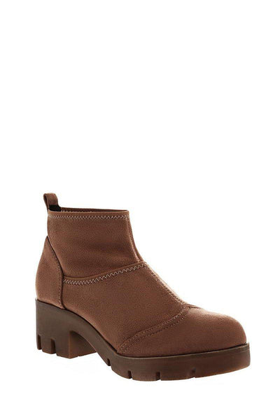 Khaki Sock Block Heeled Ankle Boots-Single price