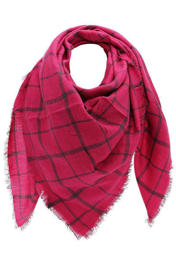 Knitted Plaid Fuchsia Square Scarf - SinglePrice