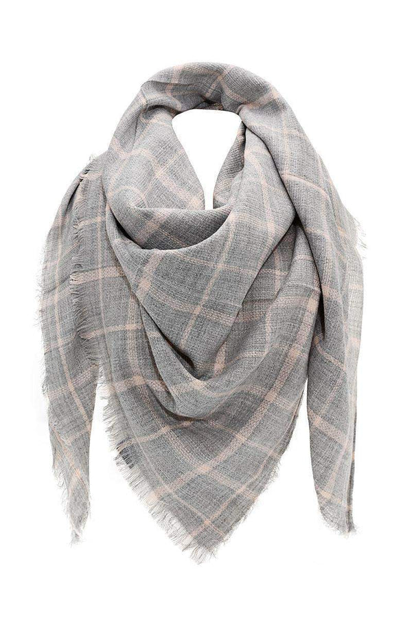 Knitted Plaid Hemp Grey Square Scarf - SinglePrice