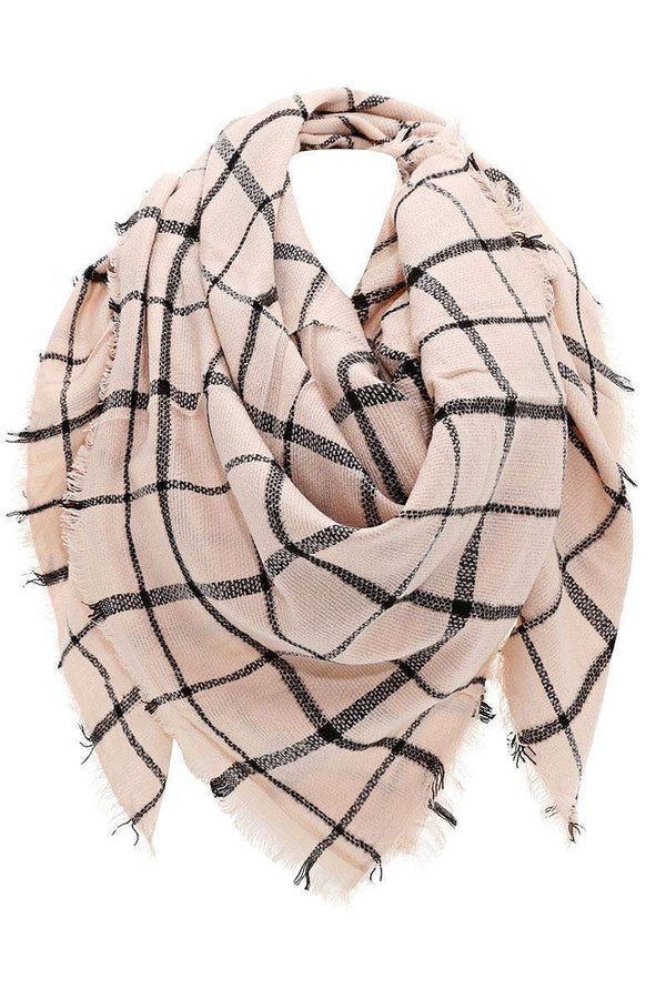 Knitted Plaid Light Pink Square Scarf - SinglePrice
