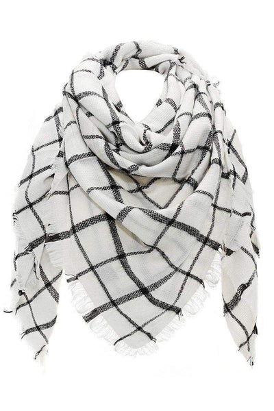 Knitted Plaid White Square Scarf-Single price