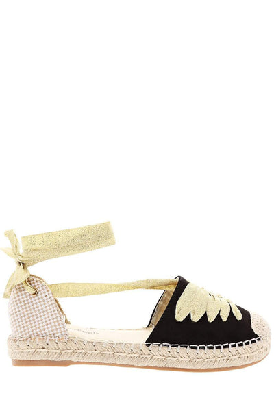Lace Wrap Around Black Gold Espadrille Sandals-Single price