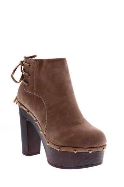 Laced Back Khaki Clog Ankle Boots-Single price