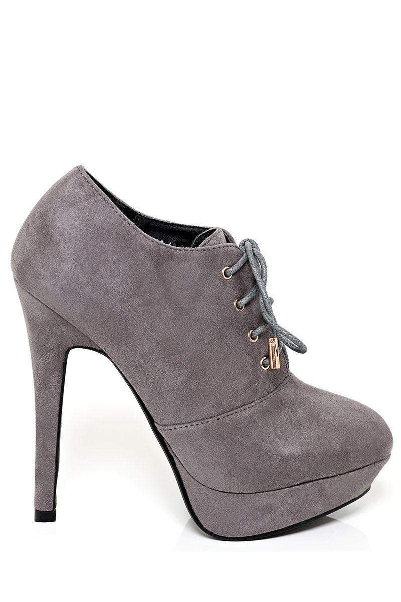 Laced Up Grey High Heel Booties-SinglePrice