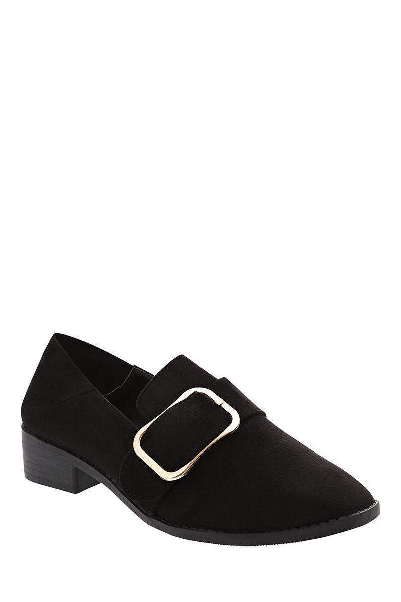 Large Buckle Black Low Heel Shoes-Single price