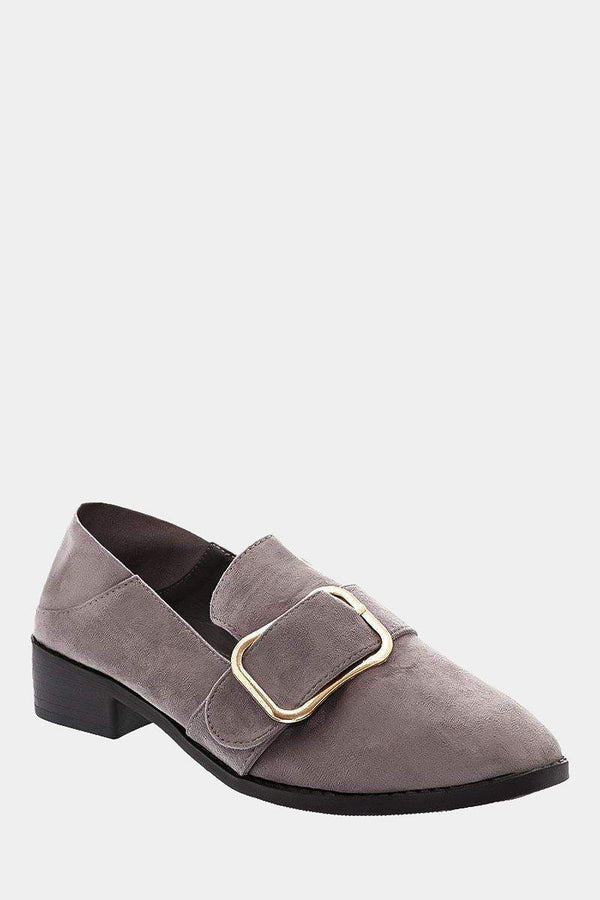 Large Buckle Grey Low Heel Shoes