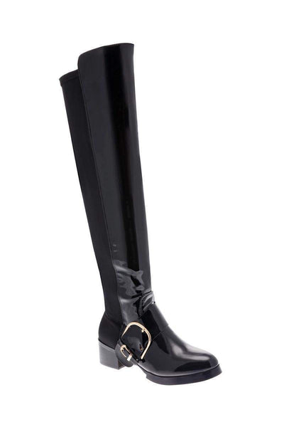 Large Buckle Patent Black Boots-Single price