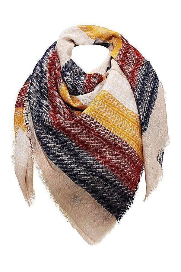 Large Contrast Stripes Marina Square Scarf-SinglePrice