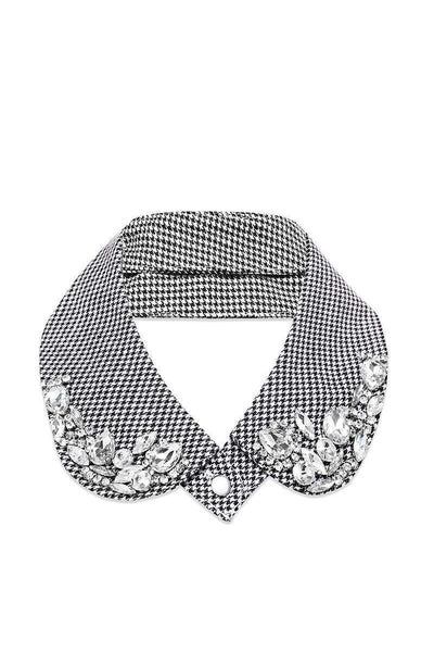 Large Jewels Embellished Dogtooth Collar-SinglePrice