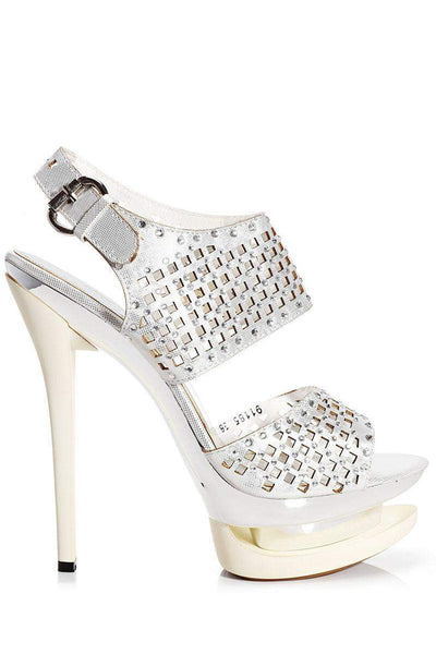 Laser Cut Embellished Ivory Platform Heels-Single price