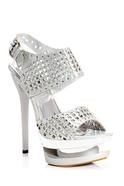Laser Cut Embellished Silver Platform Heels-Single price