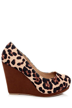 Leopard Print Wedge Shoes - SinglePrice