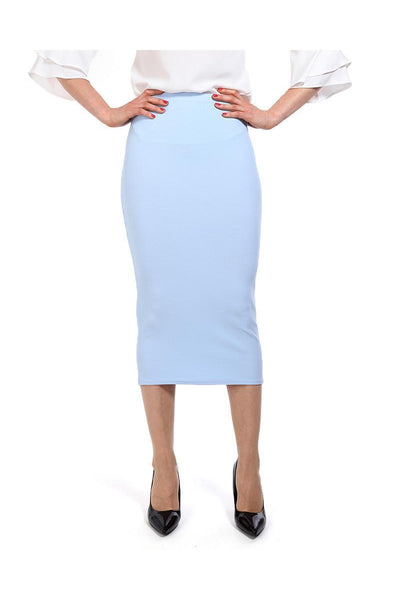Light Blue Textured Midi Skirt-SinglePrice