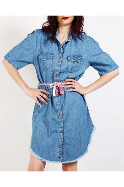 Light Denim Shirt Dress-SinglePrice