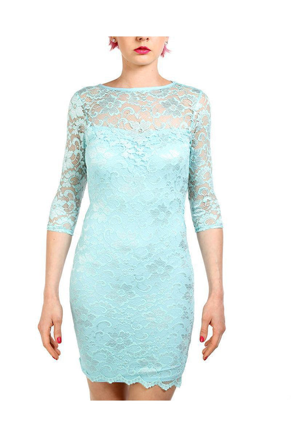 Light Turquoise Lace Open Back Bodycon Dress - SinglePrice