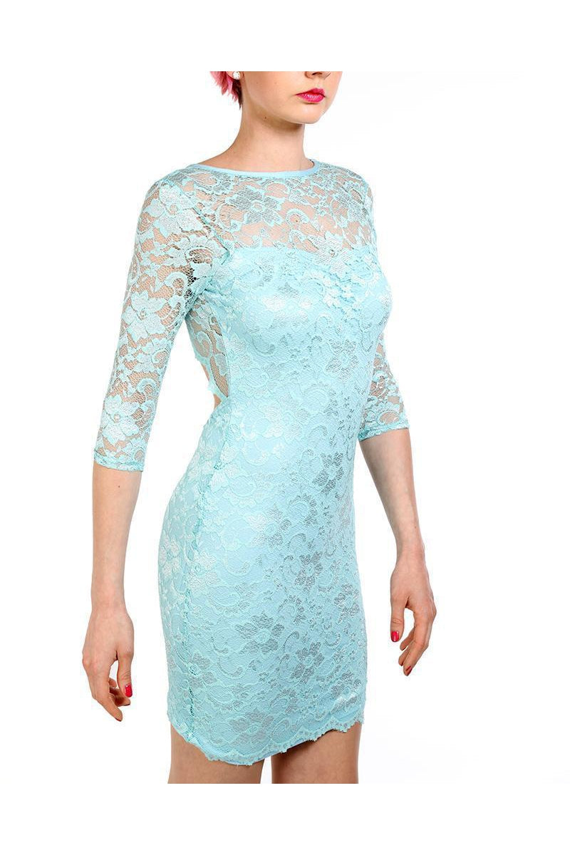 Light Turquoise Lace Open Back Bodycon Dress-SinglePrice