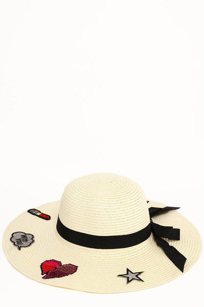 Badges Embellished Beige Summer Hat