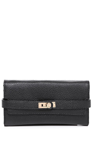Lock Strap Long Black Purse-SinglePrice