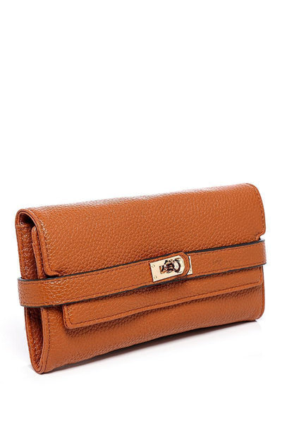 Lock Strap Long Brown Purse-SinglePrice