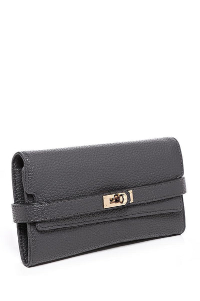 Lock Strap Long Grey Purse-SinglePrice