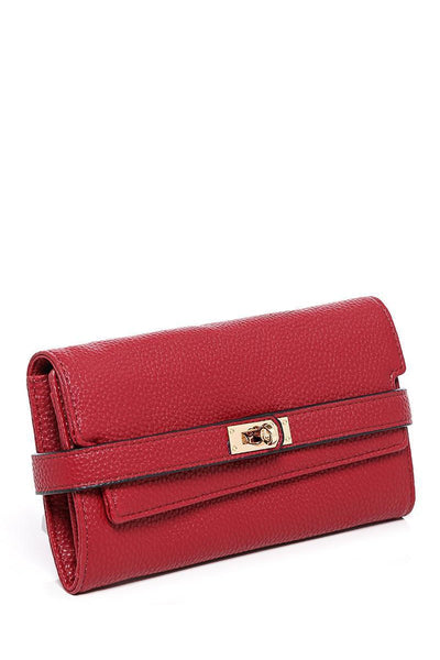 Lock Strap Long Red Purse-SinglePrice