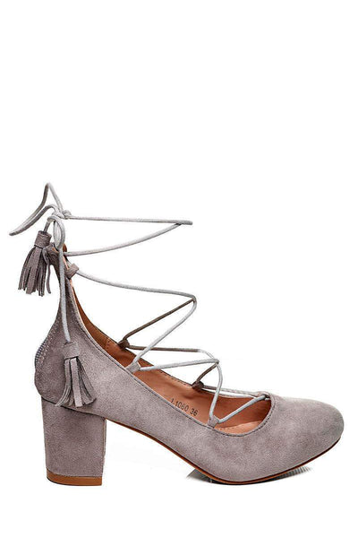 Low Heel Lace Up Heels-SinglePrice