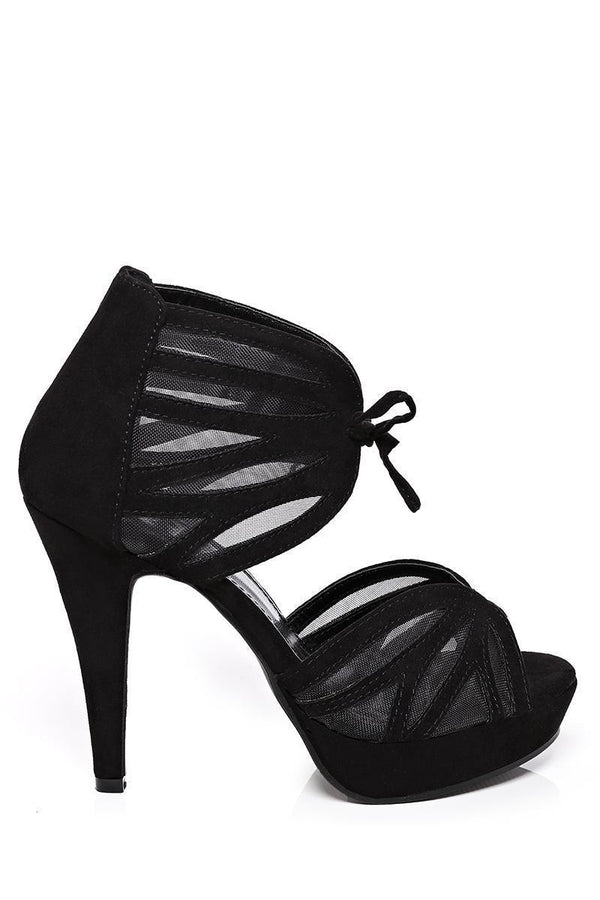Mesh Details Ankle Cuff Black Sandals - SinglePrice