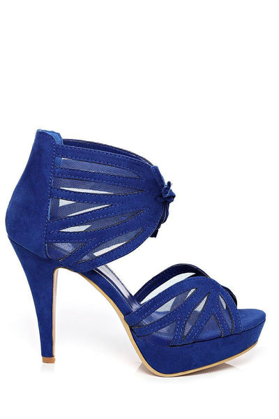 Mesh Details Ankle Cuff Blue Sandals-SinglePrice