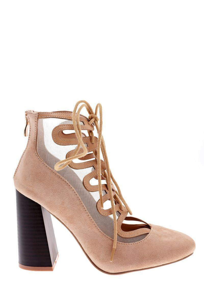 Mesh Lace Up Nude Flared Heel Shoes-Single price