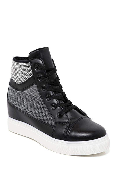 Mesh Sides Black Hidden Wedge Trainers-SinglePrice