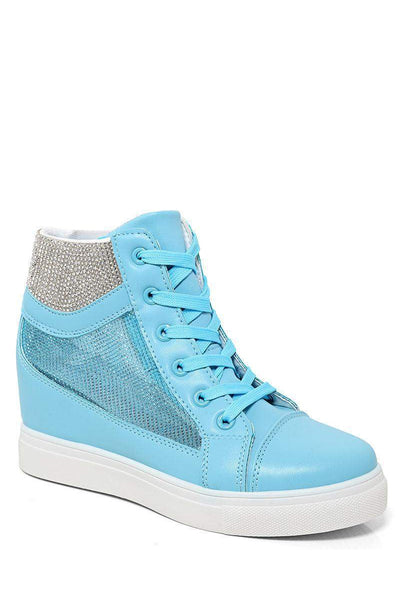 Mesh Sides Blue Hidden Wedge Trainers-SinglePrice