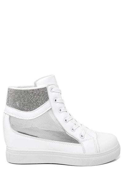 Mesh Sides White Hidden Wedge Trainers-SinglePrice