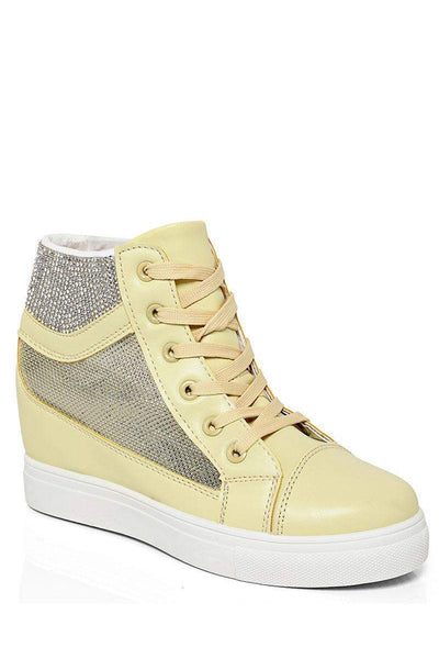 Mesh Sides Yellow Hidden Wedge Trainers-SinglePrice